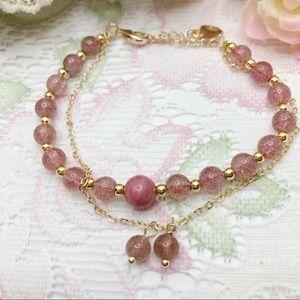14K Strawberry Quartz Bracelet